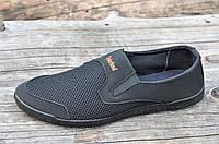 Мокасины кроссовки летние сетка мужские черные (Код: Ш1035)