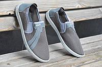 Туфли мокасины летние прочная сетка мужские серые легкие хорошая подошва Львов (Код: Ш687)
