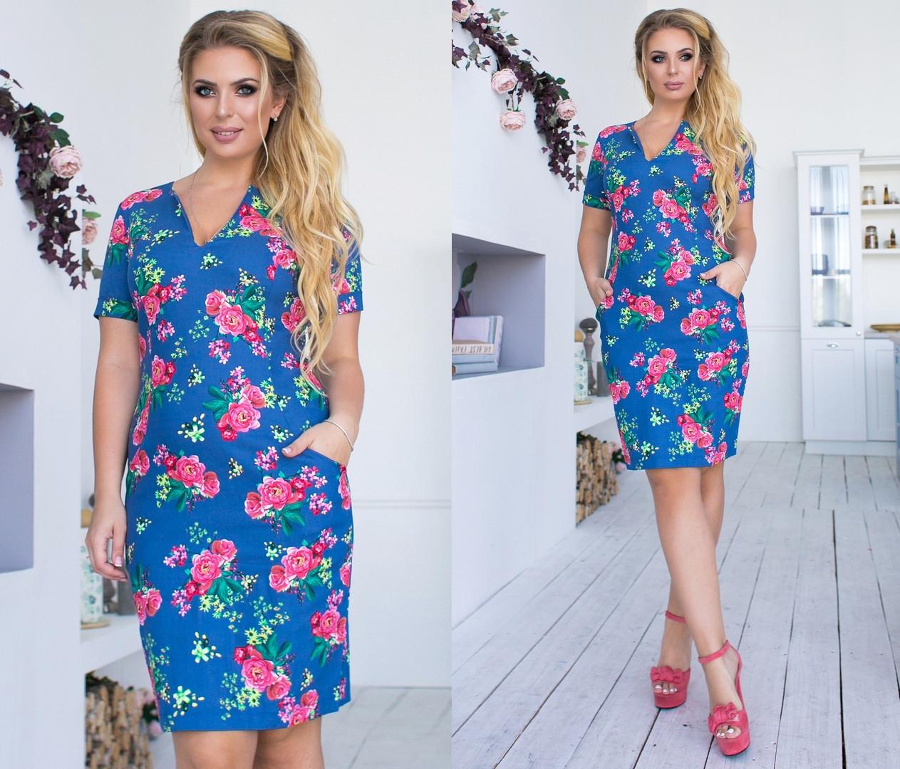 4919fc89b786117 Летнее красивое платье в цветочный принт до колен большого размера до 54-го  -