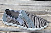 Туфли мокасины летние прочная сетка мужские серые легкие хорошая подошва Львов (Код: Б687а)