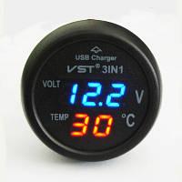 Часы термометр автомобильные VST 706-5 USB, фото 1