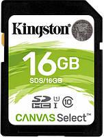 Kарта памяти Kingston SDHC 16 GB Canvas Select class 10 U1 (R80/W10)