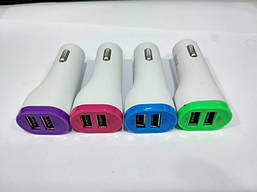 Зарядка автомобильная 12V 2 USB в цвете