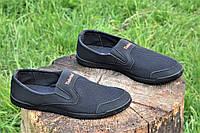 Мокасины кроссовки летние сетка мужские черные (Код: Б1035а)