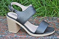 Босоножки на каблуках женские качественные темно серые с перламутром (Код: Ш1191)