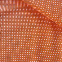 Поплин в белый горошек 3 мм на оранжевом фоне, ширина 150 см, фото 1