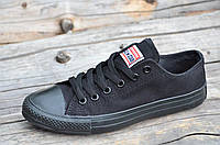 Кеды реплика Converse All Star Classic Low женские, подростковые текстиль черные популярные (Код: Т1199)