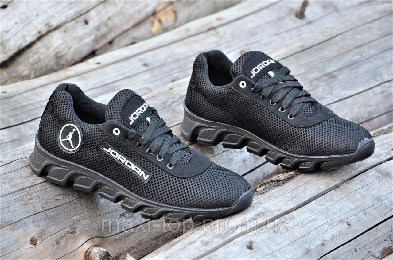 0af2f1f4 Стильные кроссовки мужские реплика Jordan сетка с замшей черные удобные  (Код: М1182а) -