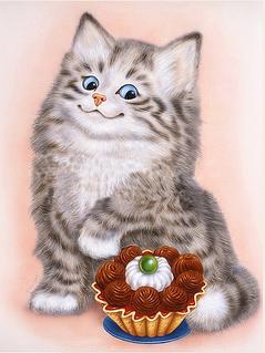 """Алмазная вышивка размер изображения 40х30 - набор """"Котенок-сладкоежка"""""""