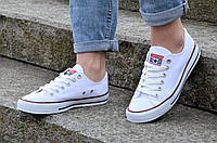 Кеды реплика Converse All Star Classic Low женские, подростковые текстиль белые практичные (Код: М1185а)