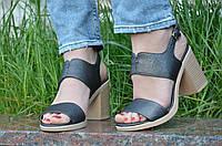 Босоножки на каблуках женские качественные темно серые с перламутром (Код: Т1191а)