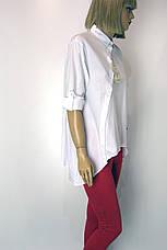 Жіноча стильна сорочка в полоску великого розміру, фото 3