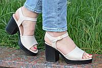 Босоножки на каблуках, платформе женские качественные цвет беж, пудра (Код: Б1193а)