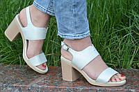 Босоножки на каблуках женские качественные светлый беж с перламутром (Код: М1192а)