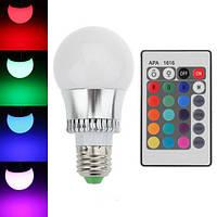 Светодиодная E27 LED RGB 5Вт лампа, 16 цветов с пультом ДУ