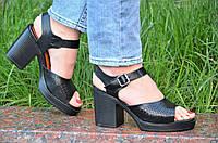 Босоножки на каблуках, платформе женские качественные мягкие черные акуратные (Код: Т1198а)