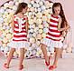 """Детское летнее стильное платье 356 """"Полоска Оборка Спина Бант"""" в расцветках, фото 2"""