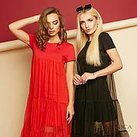 Платье на лето с сеткой и коротким рукавом 17934PL, фото 1