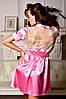 Нежный атласный халат с ажурной спинкой Розовый