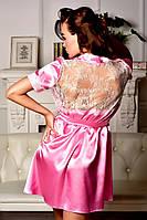 Нежный атласный халат с ажурной спинкой Розовый , фото 1