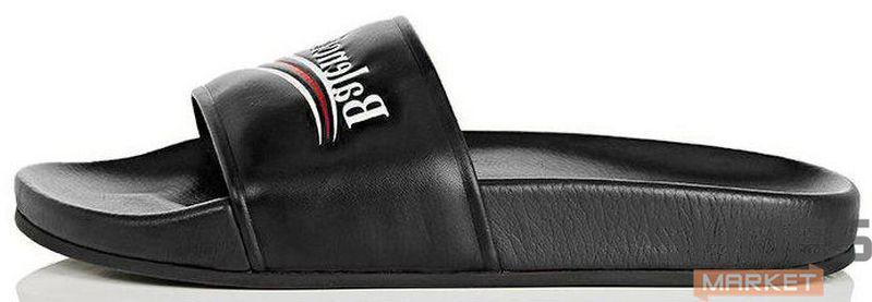 Женские тапочки Balenciaga Leather Campaign Logo Slides 0400010533827,  Баленсиага
