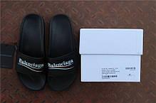 Женские тапочки Balenciaga Leather Campaign Logo Slides 0400010533827,  Баленсиага, фото 3