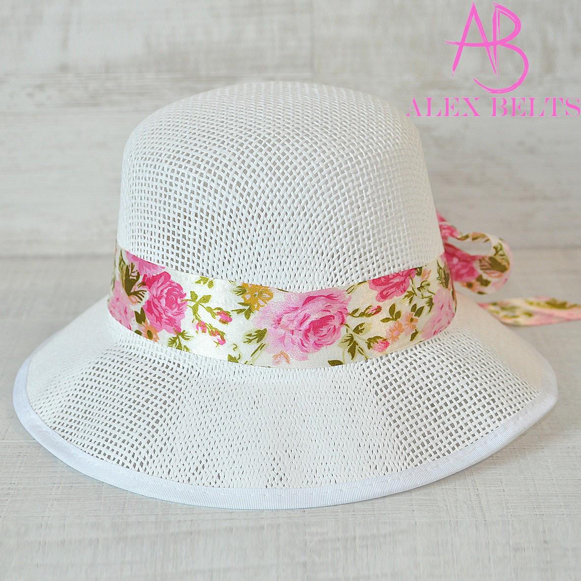 Шляпа  женская (белая) с лентой р.55-57см-купить оптом в Одессе