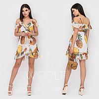 Принтованное летнее платье с открытыми плечами 18055PL, фото 1