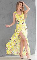Принтованное длинное летнее платье с разрезом 18059PL, фото 1