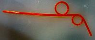 Трубочка пластиковая коктейльная без изгиба с спиралями оранжевого цвета L 250 мм (уп 10 шт)