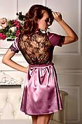 Изящный домашний халат из атласа с кружевной спинкой Фрез