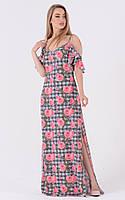 Принтованное летнее длинное платье с разрезом 18156PL, фото 1