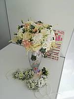 Свадебные венки, свадебные браслеты из живых цветов