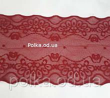 ССтрейчевое кружево, ширина 10 см, цвет бордовый