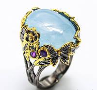 Серебряное кольцо ручной работы 925 пробы с натуральным аквамарином Размер 18