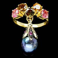 Серебряное позолоченное кольцо 925 пробы с натуральным турмалином и черной жемчужиной Размер 18