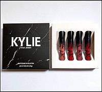 Помада Kylie в мраморной коробке черная 4 штуки