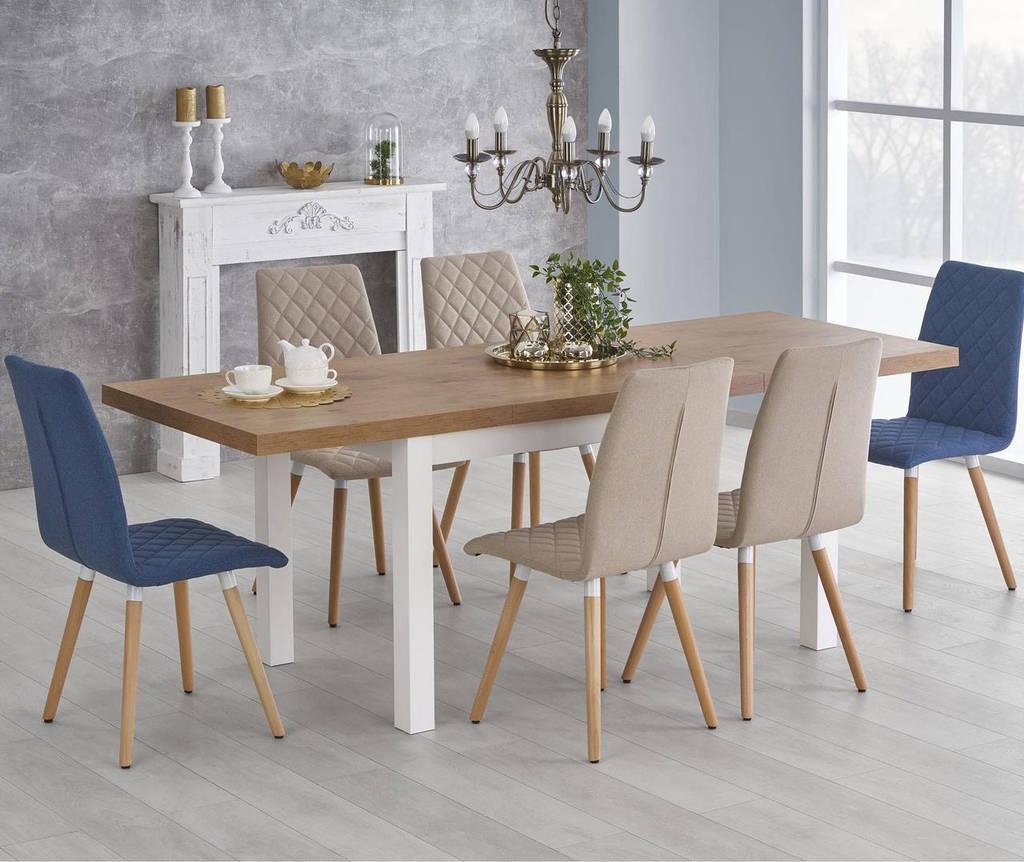 Стол обеденный деревянный TIAGO 140-220/80 Halmar дуб lancelot/белый