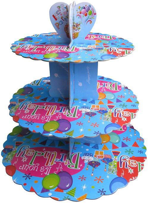 Стенд трёхъярусный картонный круглый для капкейков лазурного цвета (шт)