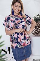 a9e7bac6830 Очаровательная женская блуза с цветочным принтом проямого покроя