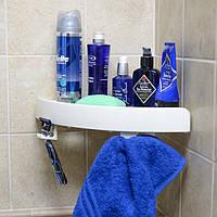 Полка в ванную на присосках Snap Up Shelf, угловая полка в ванную комнату
