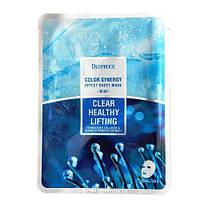 Тканевая маска с морским коллагеном и экстрактами водорослей Deoproce Color Synergy Effect Sheet Mask Blue , фото 1