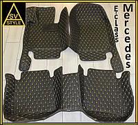 Коврики Mercedes S-Class Кожаные 3D (W221 / 2005-2013) Чёрные, фото 1