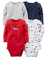 Детские боди  для мальчика (4 шт)  3, 6,  9, 12, 24  месяца