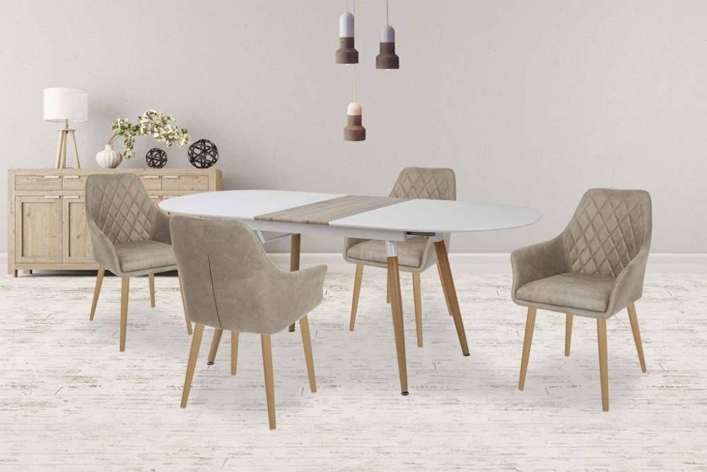 Стол обеденный деревянный CALIBER Halmar белый/дуб san remo