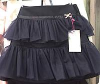 Юбка школьная для девочки, тонкая костюмная ткань, воланы из сеточки р.116,122,128,134,140  синяя, черная