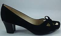 """Туфли женские чёрные на среднем каблуке из натуральной замши от производителя модель """"Глория-ЗАМ"""" , фото 1"""