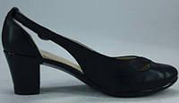 Туфли женские на среднем каблучке из натуральной кожи черного цвета от производителя модель РБ - 05, фото 1