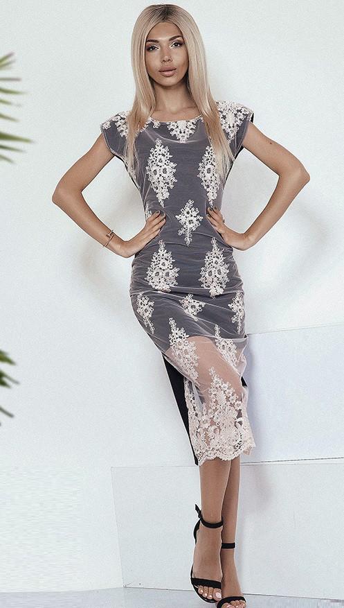 Кружевное коктейльное платье 3790