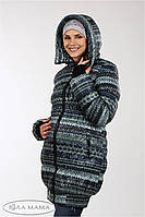 """Теплая зимняя слинго-куртка+беременность """"Lorans"""" из плащевки лаке на силиконе, принт вязка, фото 1"""